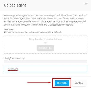Dialogflow - Upload ZIP File: