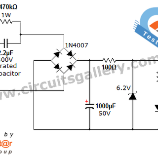 Transformer less AC to DC power supply circuit using dropping capacitor.png