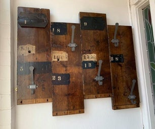 Found / Reclaimed Plank Into Coat Hooks.