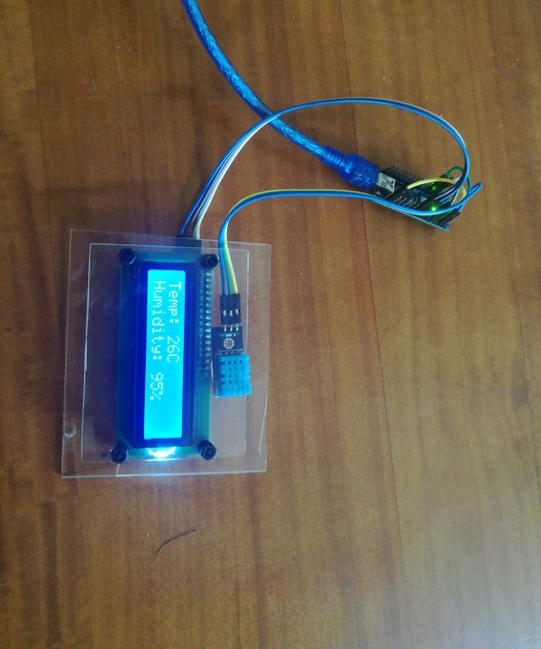DISPLAY HUMIDITY AND TEMPERATURE ON LCD WITH ARDUINO NANO