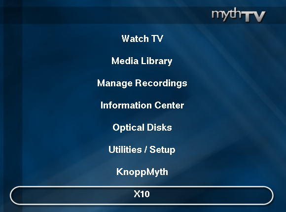 Control X10 modules via MythTV