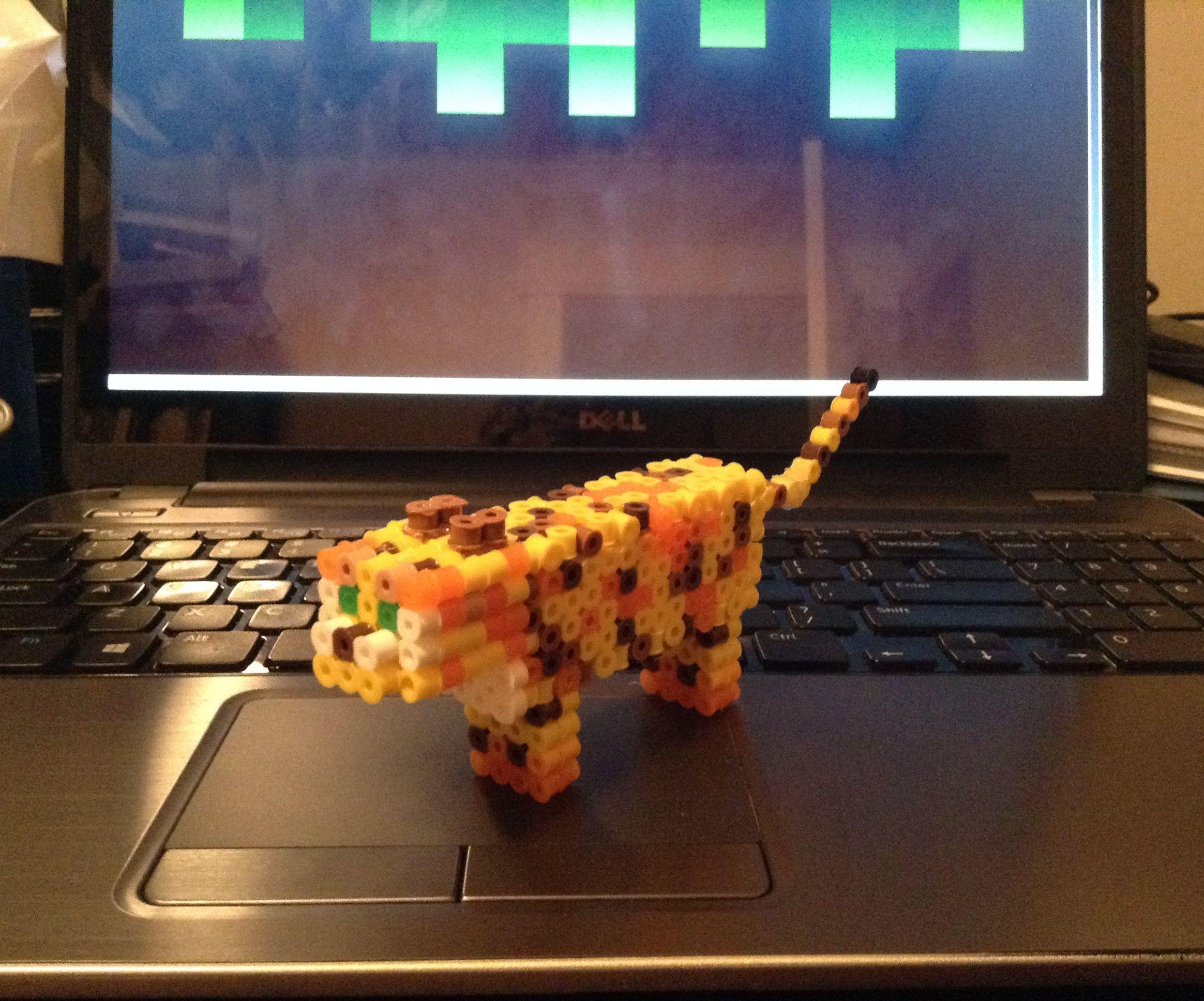 3D Perler/Hama bead Minecraft Ocelot!