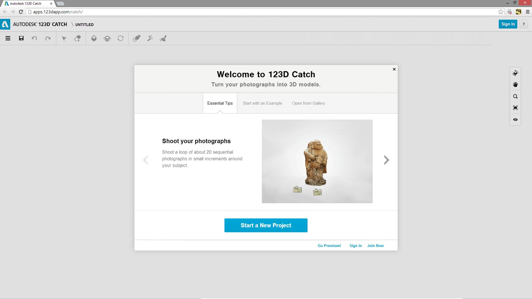 123D Catchを使って複数の画像ファイルから3D Photo モデルを作成