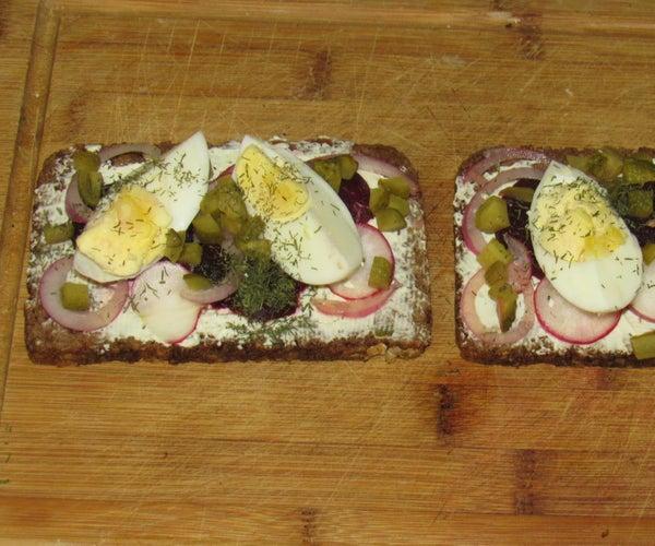 Open Faced Danish Rye Bread Sandwhich