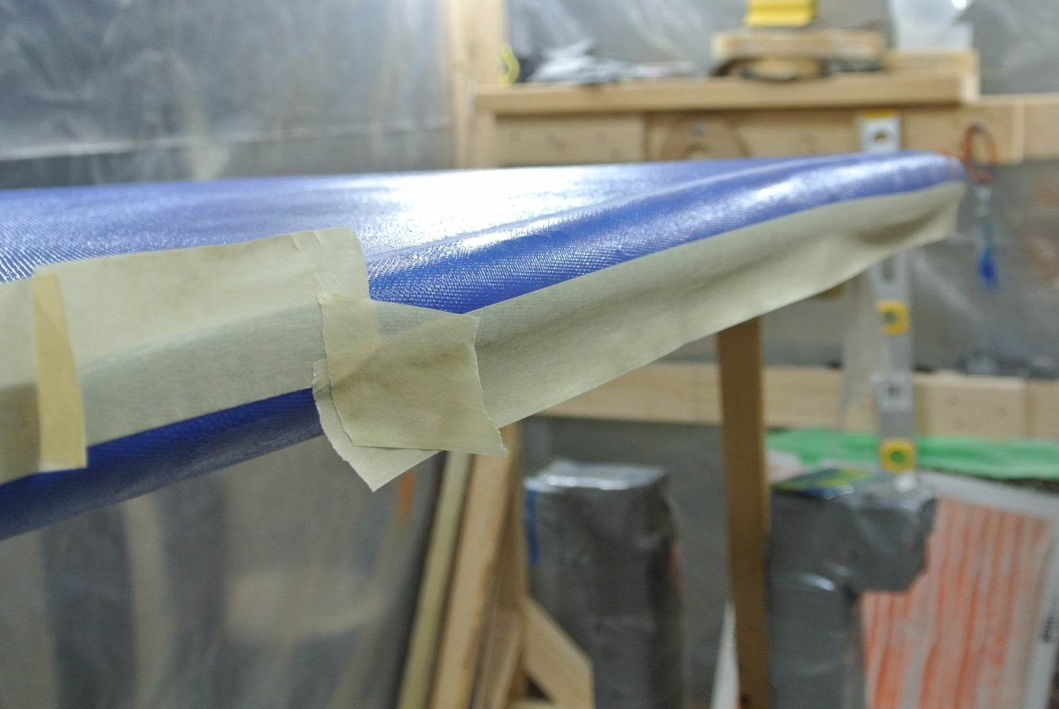 Taping the Rails for the Hot-Coat