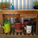 Simple potting bench with storage