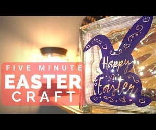 How to Create a 5 Minute Easter Craft Glass Block (with/without Cricut)