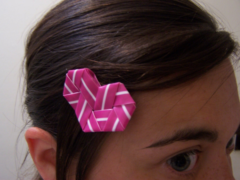 Make a Drinking Straw Heart Hairpin