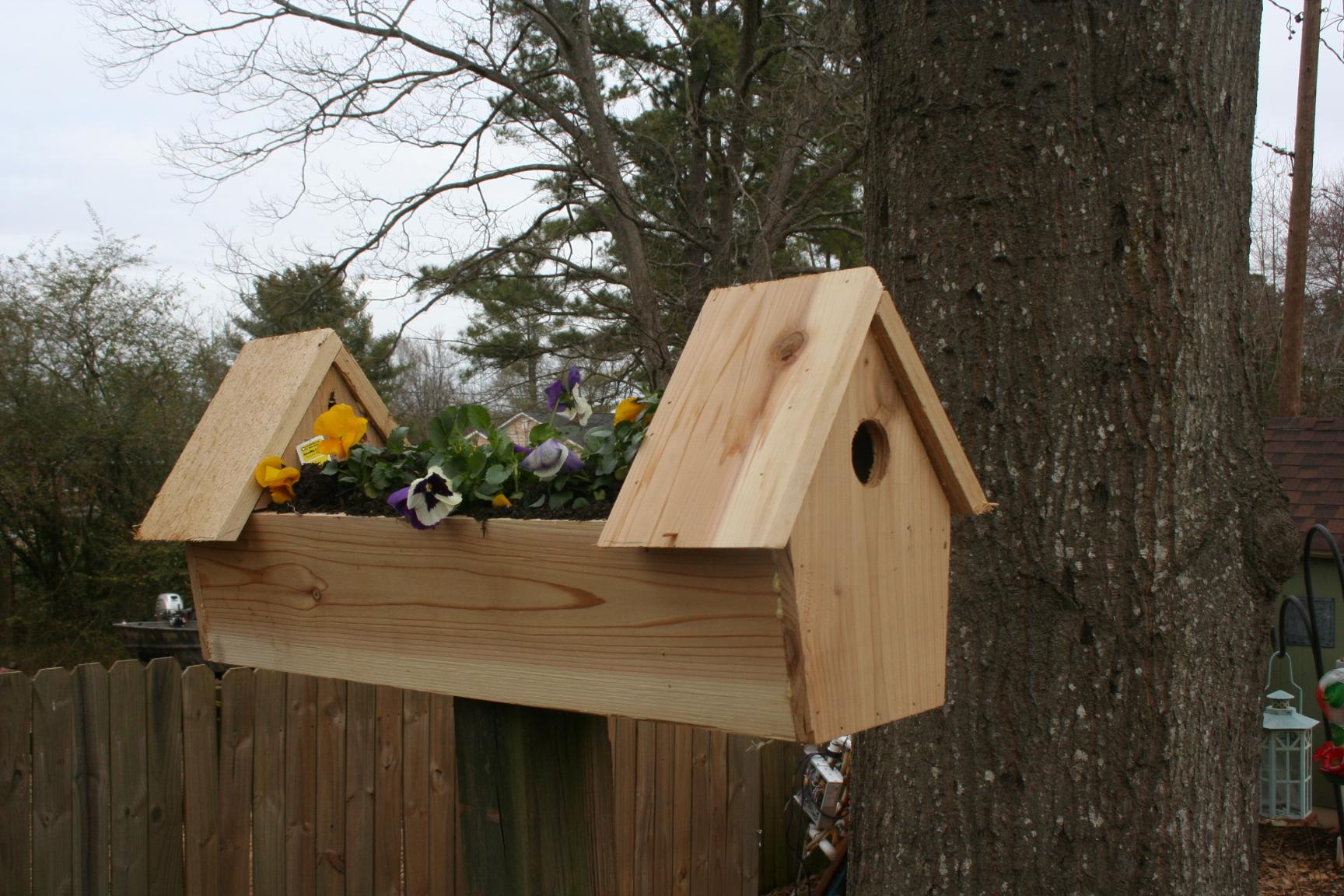 cedar double bird house planter
