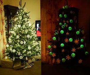 在黑暗的voronoi圣诞装饰上发光