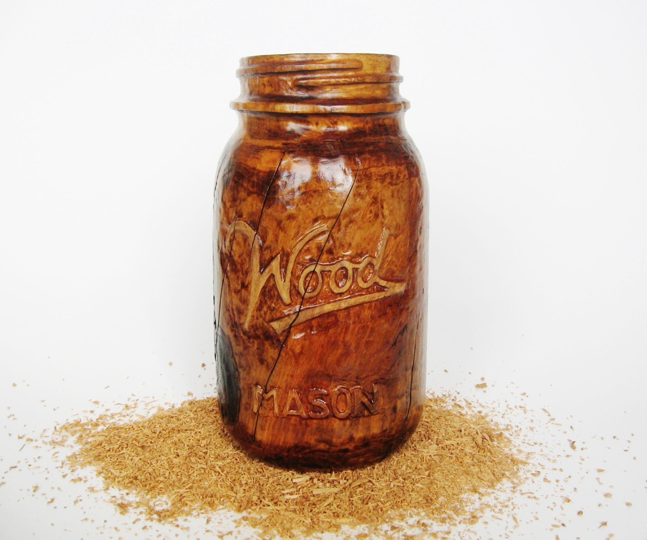 Wooden Mason Jar (carved from a cherry log)