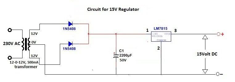 Schematic Diagram of 15 Volt Regulator