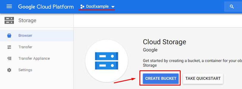 Google Cloud Storage - Create Bucket: