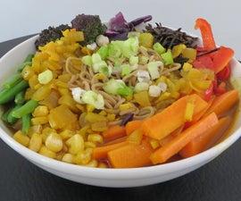 Vegan Rainbow Ramen in a Bowl of Gold
