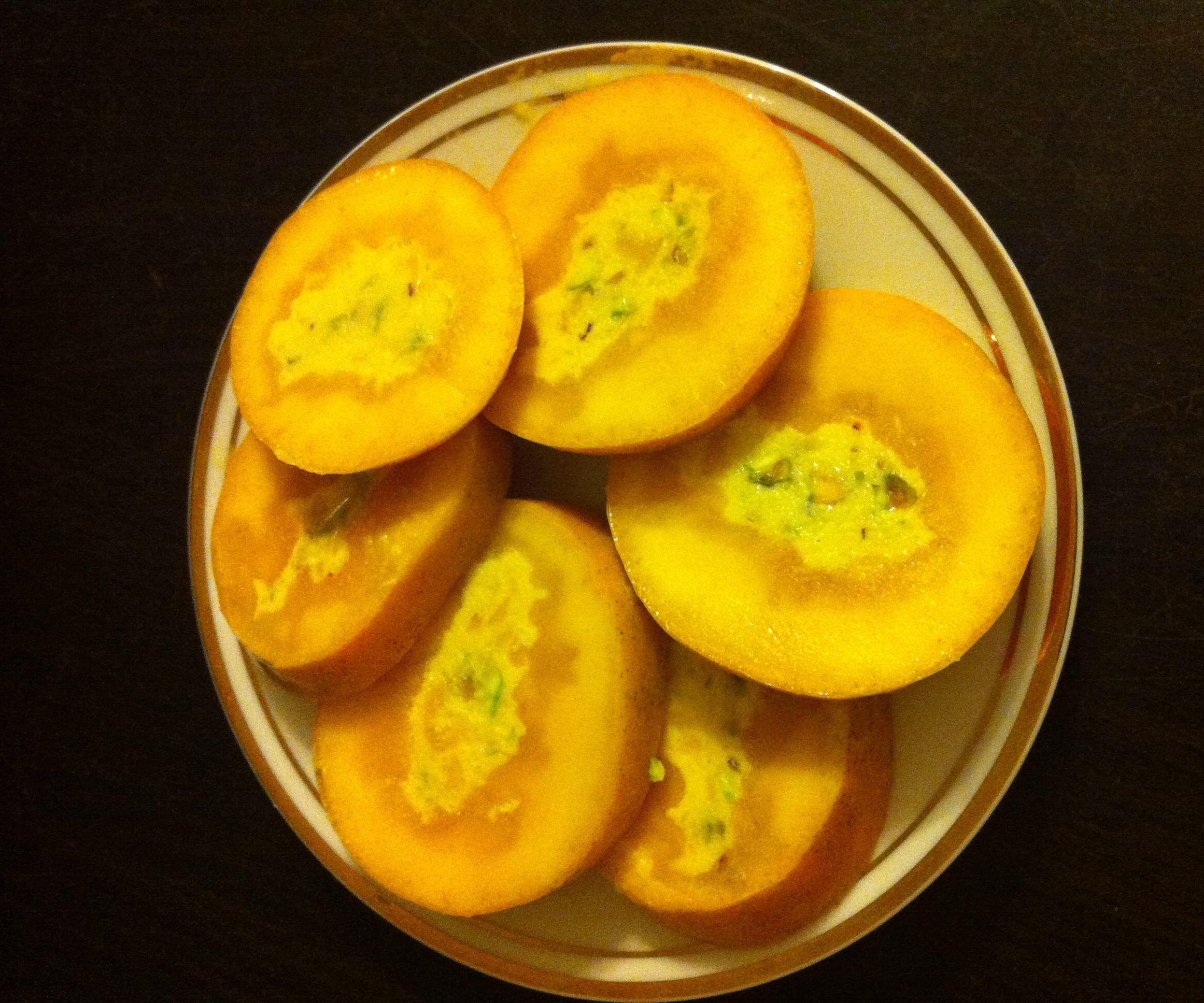Mango Pistachio Kulfi / Ice cream Inside A Real Mango