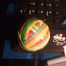 Colored ball of rubberband