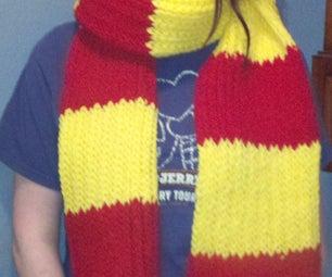 Loom Knit Gryffindor Scarf