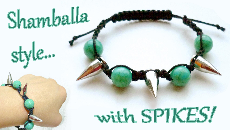 DIY shamballa style bracelet with spikes!