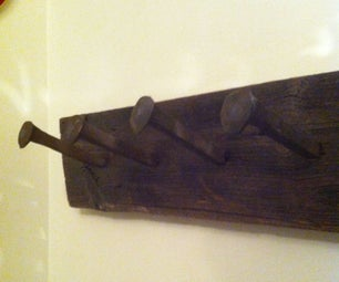 Coat Hanger From Railroad Spikes and Barn Board