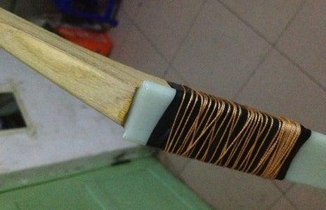 Step 5--Glue the Bow Tip and Shaft Onto the Glass Fiber Sheet