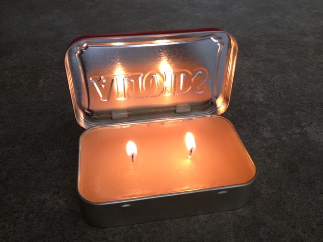 Altoids tin portable candle