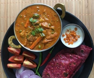 Mixed Vegetable Kadai Masala With Beetroot Parathas