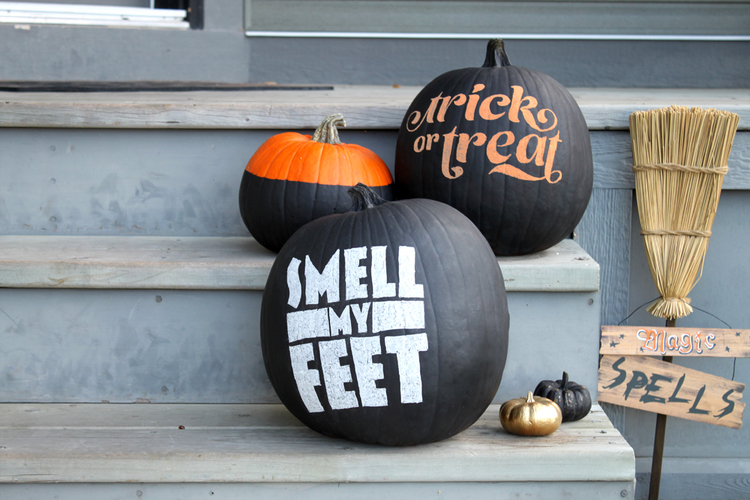 DIY: No-carve typography pumpkins