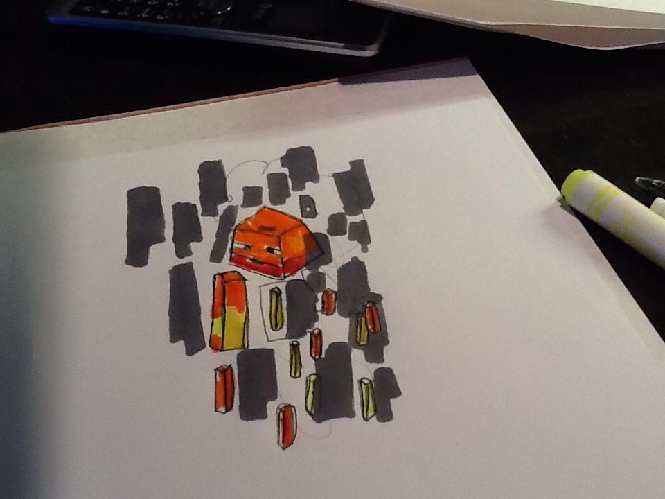 How To Draw A Minecraft Blaze - A Minecraft Series