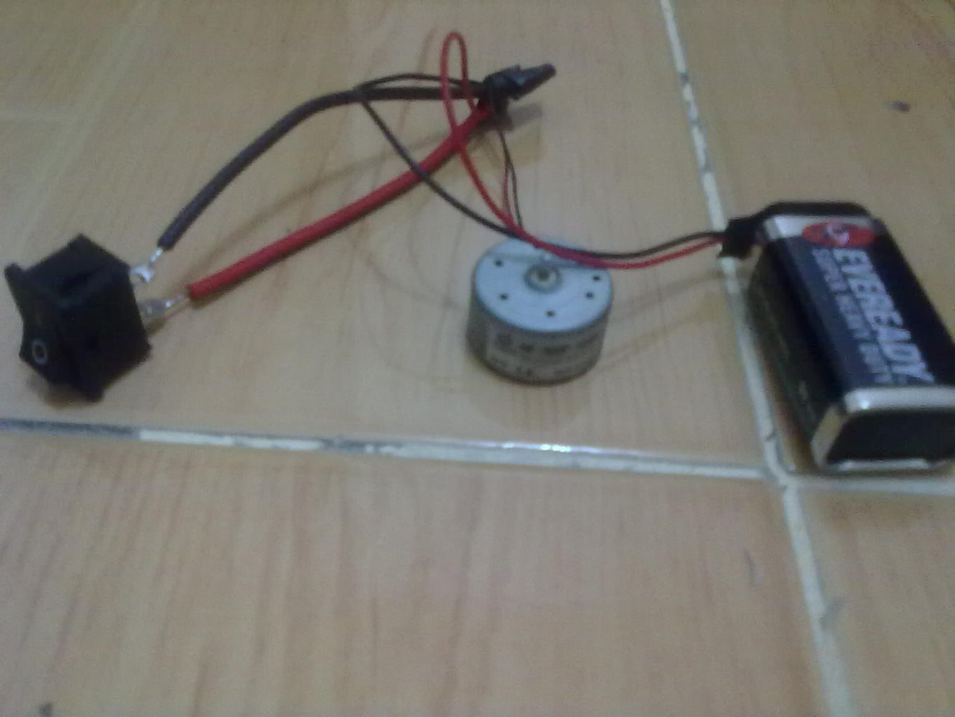 Solder the Wires of the Switch, Battery Clip and Hobby Motor