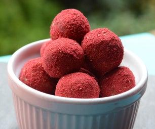Truffles Coated in Freeze Dried Raspberry Powder