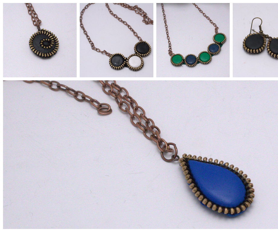 Create beautiful jewelry using zippers and polymer clay