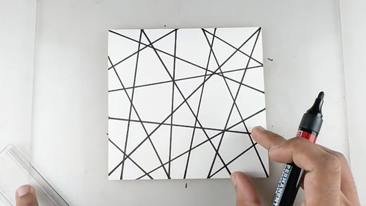Draw Random Lines on the Paper Using Black Marker (REFER VIDEO)