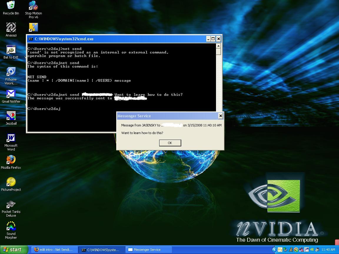 Net Sending on a Computer