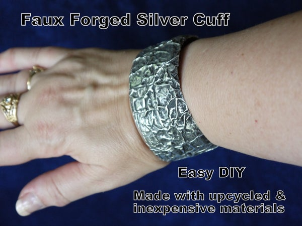 Upcycled Faux Forged Silver Cuff Bracelet