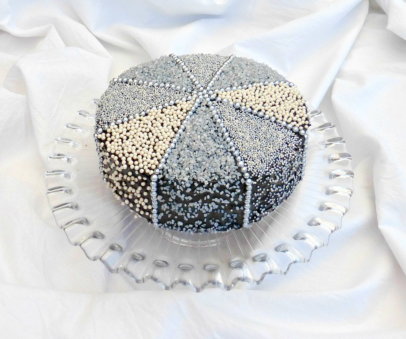 Sparkly Silver Decorated Cake