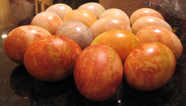 Easter Eggs Dyed With Onion Skins and Ferns