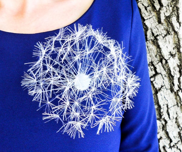 Delicate Dandelion Made of Ribbon, Glue and Fishing Line