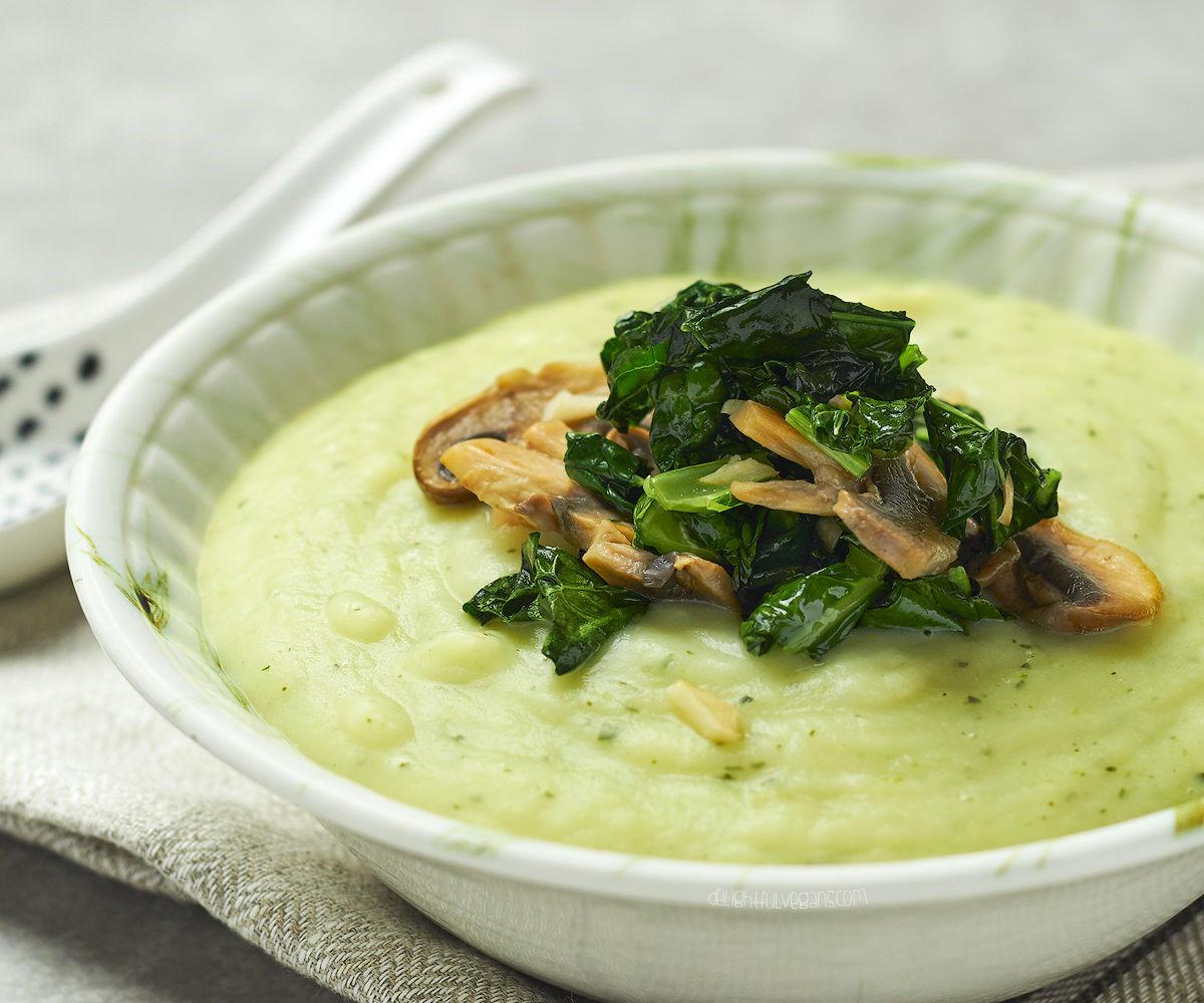 Potato Soup with Sauteed Mushrooms, Kale and Garlic