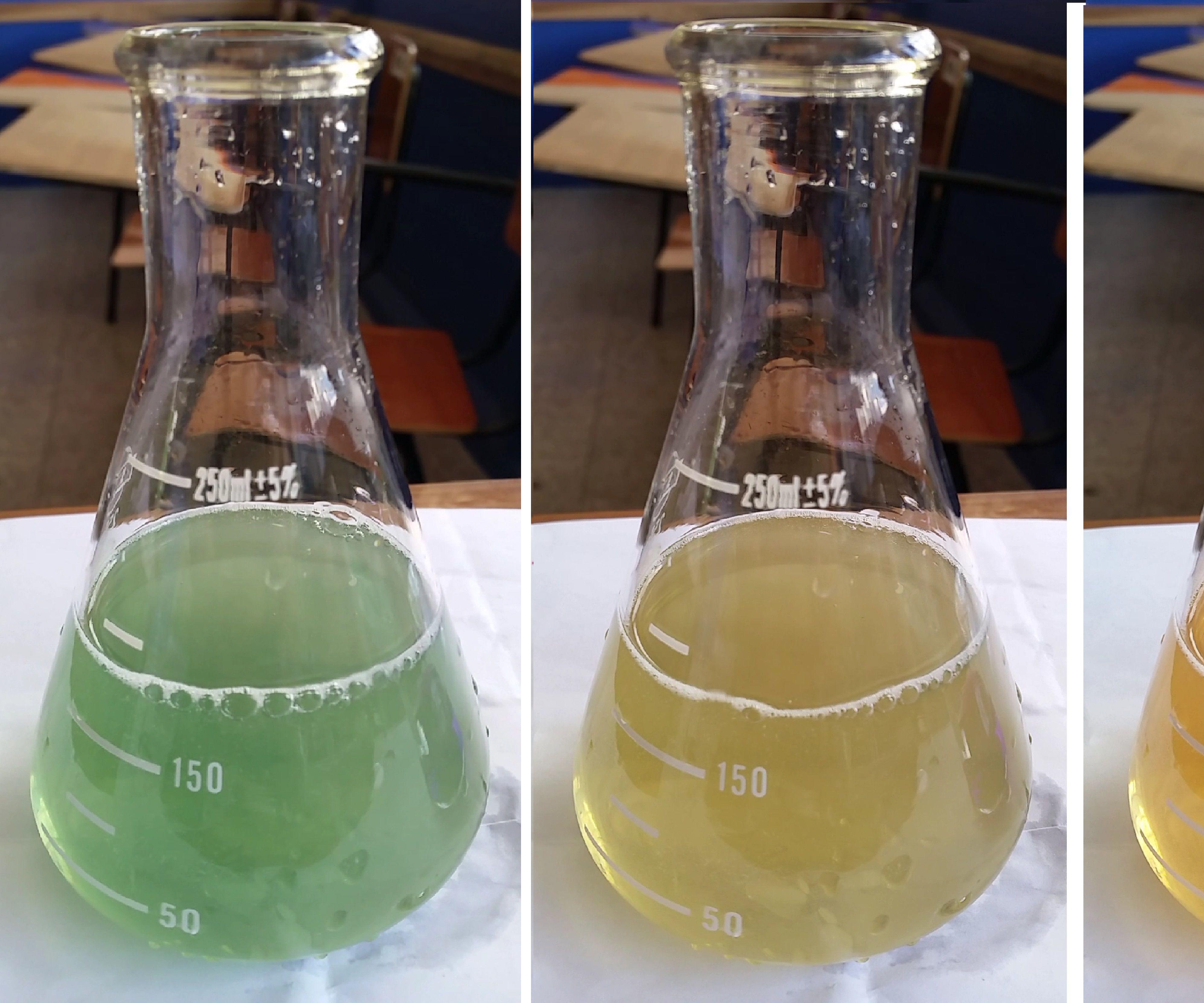 Reacción química del permanganato de potasio con sacarosa en medio básico