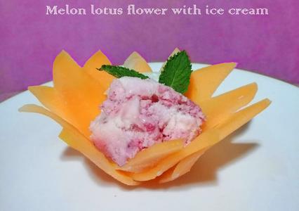 Melon Lotus Flower With Ice Cream