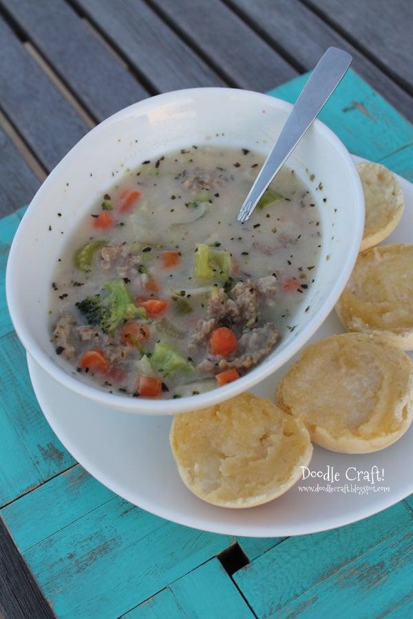 Creamy Potato and Veggie Soup!