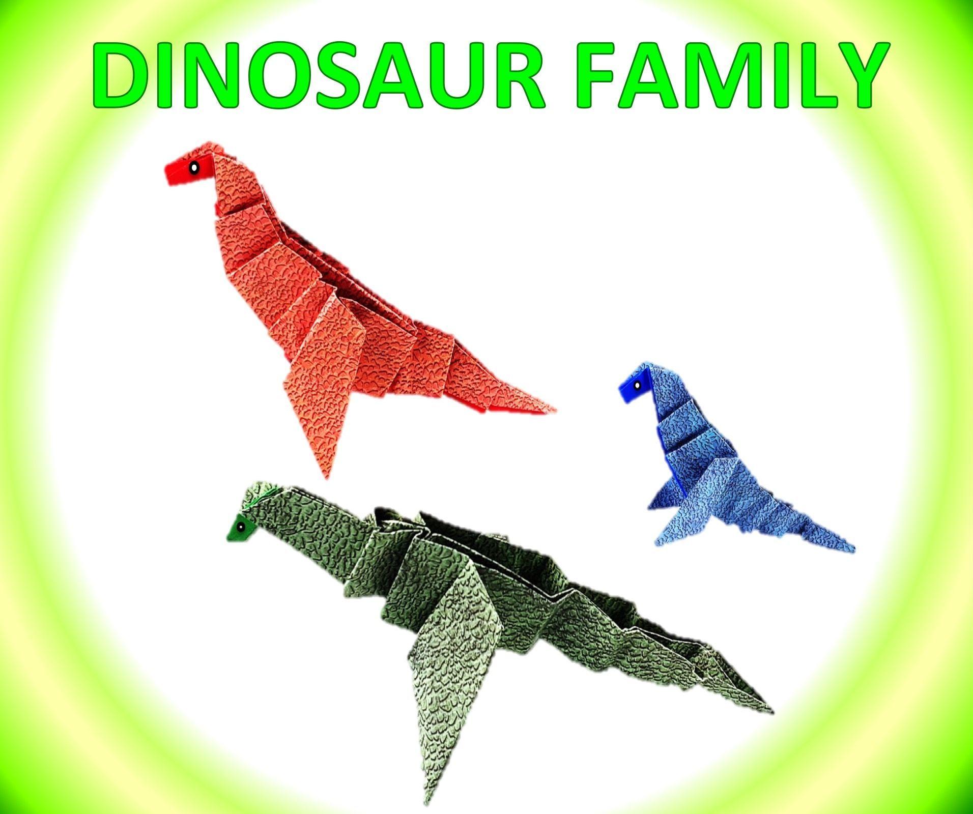 [ Paper Origami ] Cute Dinosaur Family