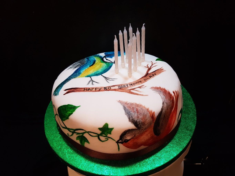 Hand Painted Bird Birthday Cake