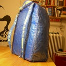 IKEA hack: blue bag to backpack
