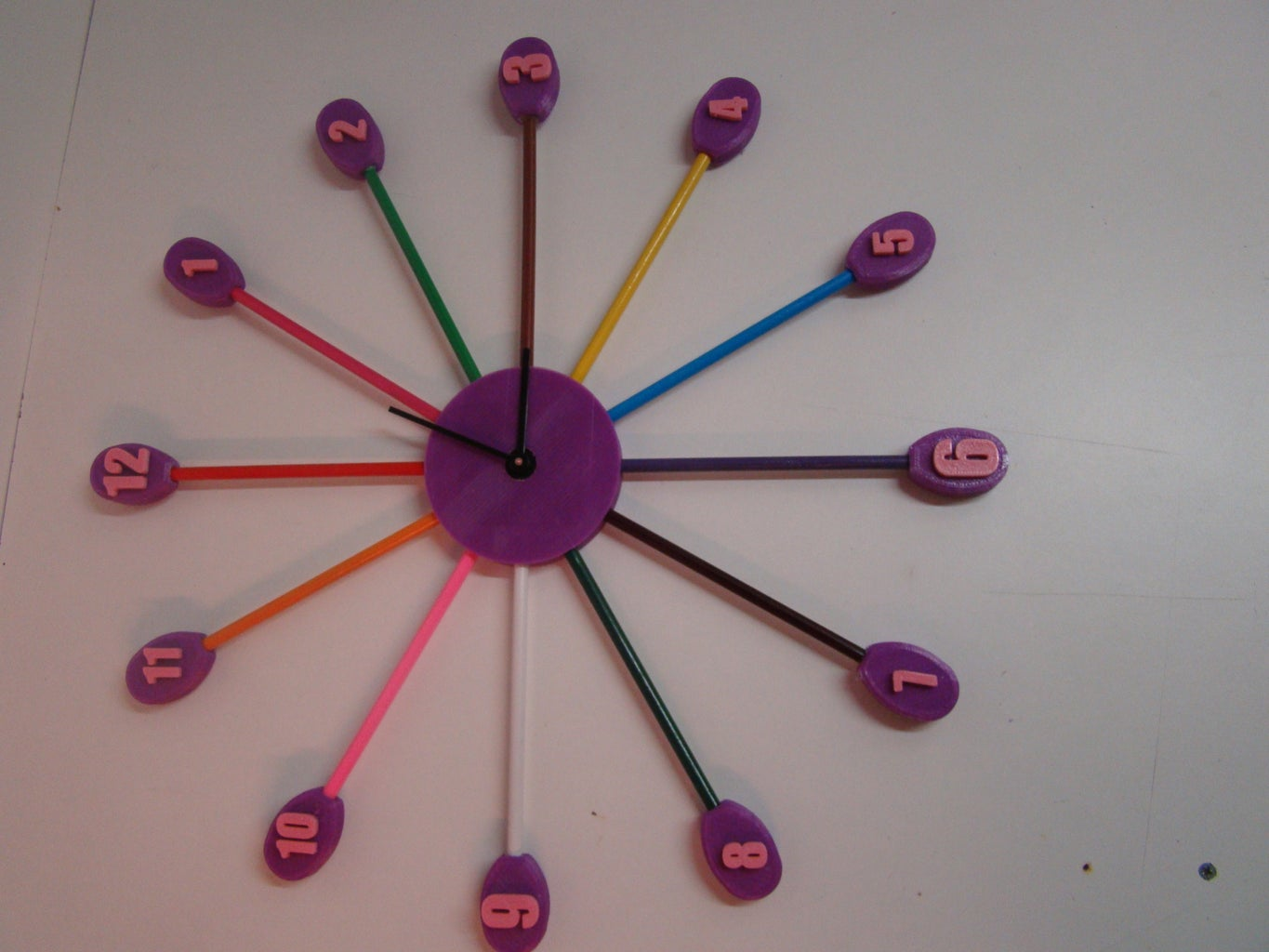 3D Printed Wall Clock With Lots of Colors.