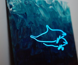 Glowing El Wire and Acrylic Pour Art