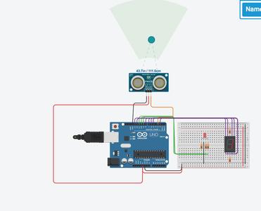 Ultrasonic Sensor Using RGB and 7 Segment Display
