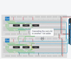 Showing 4 Bit Binary Addition Through a 7 Segment Display