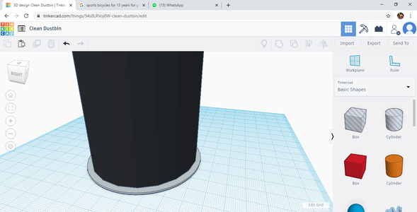 Select Another Cylindrical Shape to Create the Base of the Bin.