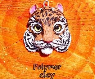 Polymer Clay Tiger Magnet or Key Fob